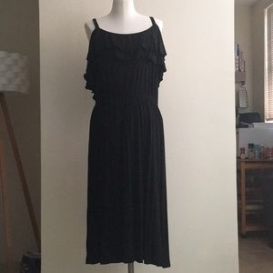 Ann Taylor LOFT Black Cold Should Midi Dress
